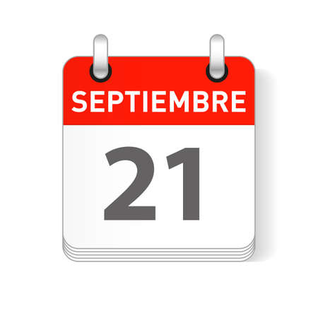 Septiembre 21, September 21 date visible on a page a day organizer calendar in spanish Language