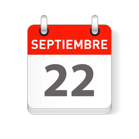 Septiembre 22, September 22 date visible on a page a day organizer calendar in spanish Language  イラスト・ベクター素材