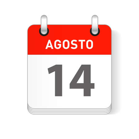 Agosto 14, August 14 date visible on a page a day organizer calendar in spanish Language