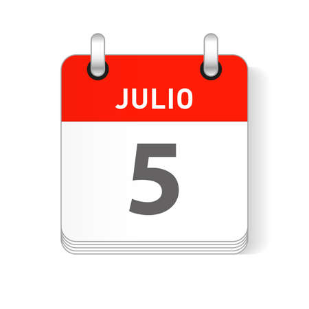 Julio 5, July 5 date visible on a page a day organizer calendar in spanish Language Ilustração