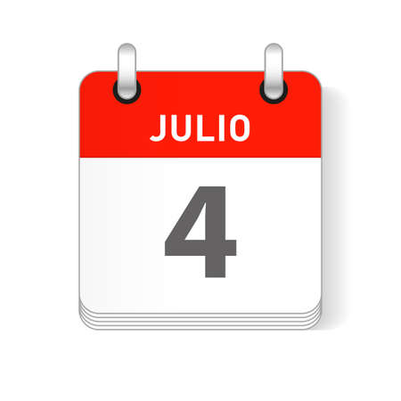 Julio 4, July 4 date visible on a page a day organizer calendar in spanish Language Ilustração