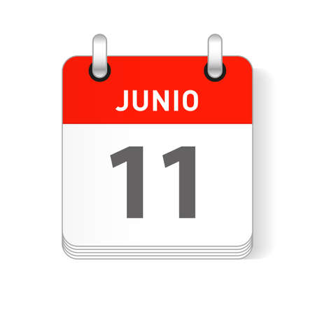 Junio 11, June 11 date visible on a page a day organizer calendar in spanish Language