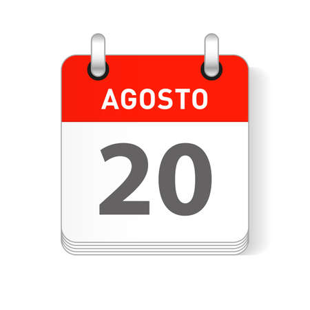 Agosto 20, August 20 date visible on a page a day organizer calendar in spanish Language Vettoriali