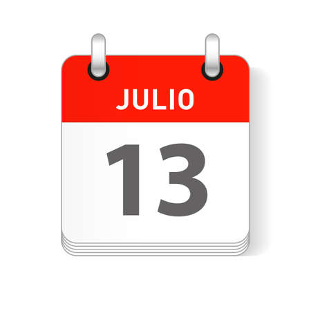 Julio 13, July 13 date visible on a page a day organizer calendar in spanish Language Ilustração