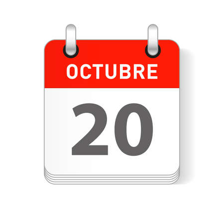 Octuber 20, October 20 date visible on a page a day organizer calendar in spanish Language Illustration