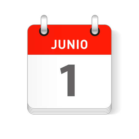 Junio 1, June 1 date visible on a page a day organizer calendar in spanish Language Illustration