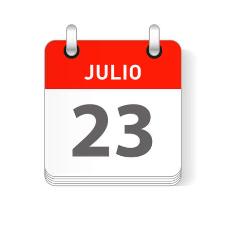 Julio 23, July 23 date visible on a page a day organizer calendar in spanish Language  イラスト・ベクター素材