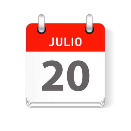 Julio 20, July 20 date visible on a page a day organizer calendar in spanish Language