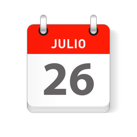 Julio 26, July 26 date visible on a page a day organizer calendar in spanish Language