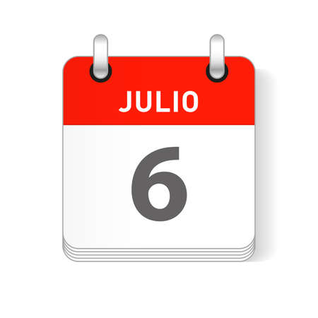 Julio 6, July 6 date visible on a page a day organizer calendar in spanish Language