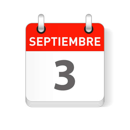 Septiembre 3, September 3 date visible on a page a day organizer calendar in spanish Language
