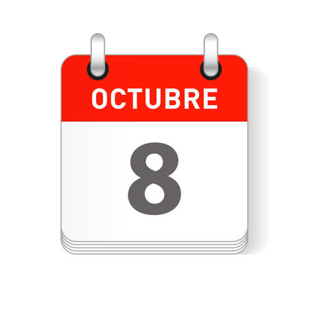 Octuber 8, October 8 date visible on a page a day organizer calendar in spanish Language