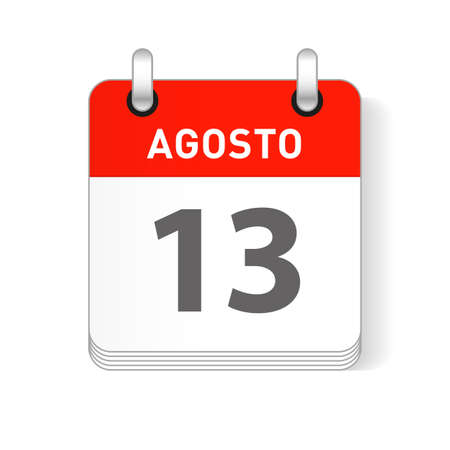 Agosto 13, August 13 date visible on a page a day organizer calendar in spanish Language
