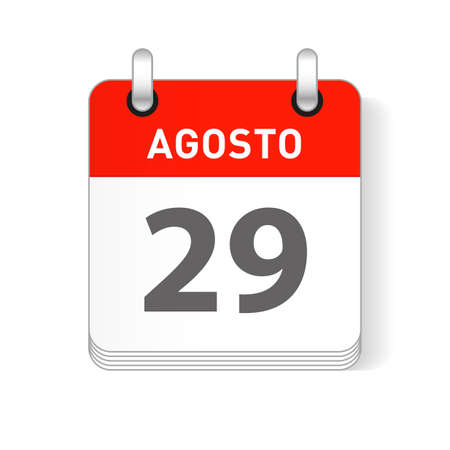 Agosto 29, August 29 date visible on a page a day organizer calendar in spanish Language