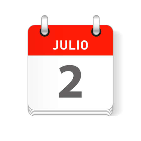 Julio 2, July 2 date visible on a page a day organizer calendar in spanish Language