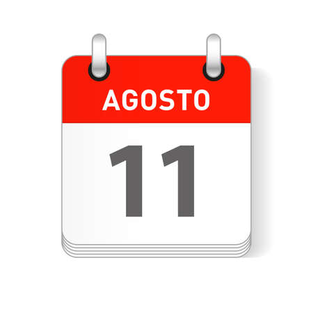 Agosto 11, August 11 date visible on a page a day organizer calendar in spanish Language