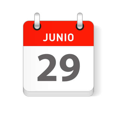 Junio 29, June 29 date visible on a page a day organizer calendar in spanish Language