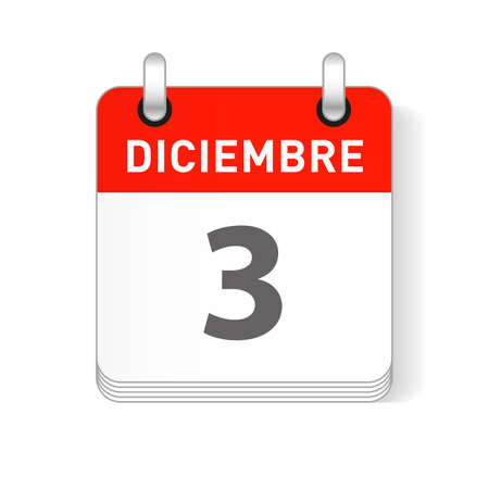 Diciembre 3, December 3 date visible on a page a day organizer calendar in spanish Language