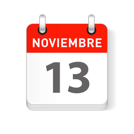 Noviembre 13, November 13 date visible on a page a day organizer calendar in spanish Language