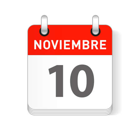 Noviembre 10, November 10 date visible on a page a day organizer calendar in spanish Language  イラスト・ベクター素材