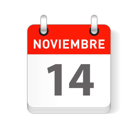 Noviembre 14, November 14 date visible on a page a day organizer calendar in spanish Language