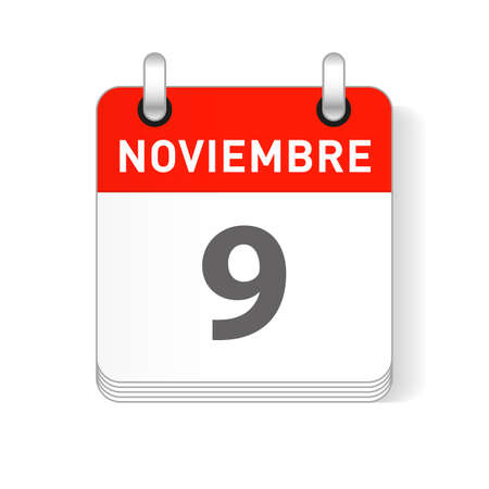 Noviembre 9, November 9 date visible on a page a day organizer calendar in spanish Language  イラスト・ベクター素材