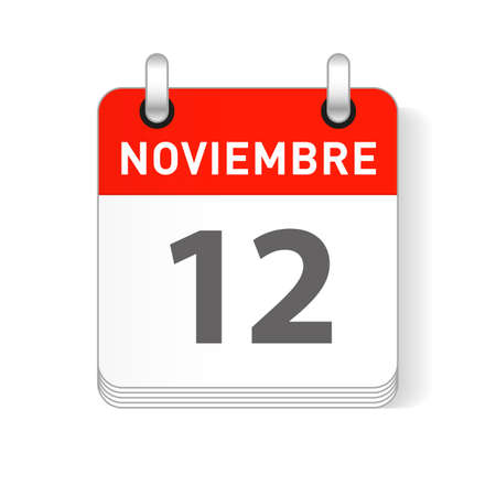 Noviembre 12, November 12 date visible on a page a day organizer calendar in spanish Language