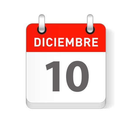 Diciembre 10, December 10 date visible on a page a day organizer calendar in spanish Language