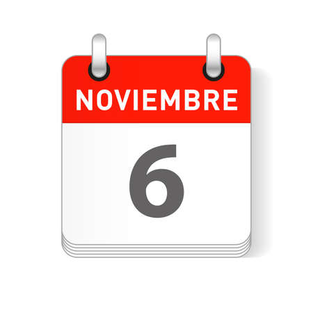 Noviembre 6, November 6 date visible on a page a day organizer calendar in spanish Language  イラスト・ベクター素材