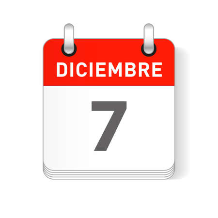 Diciembre 7, December 7 date visible on a page a day organizer calendar in spanish Language  イラスト・ベクター素材