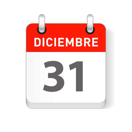 Diciembre 31, December 31 date visible on a page a day organizer calendar in spanish Language