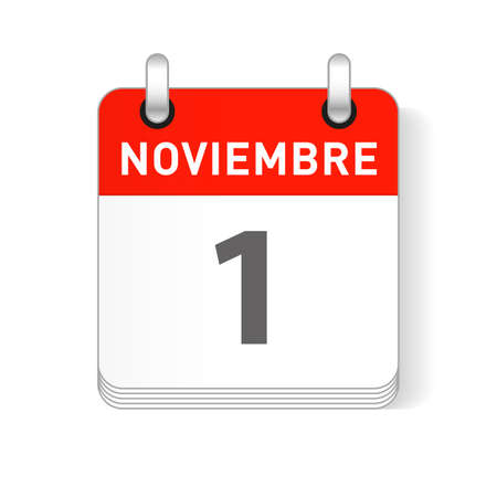 Noviembre 1, November 1 date visible on a page a day organizer calendar in spanish Language