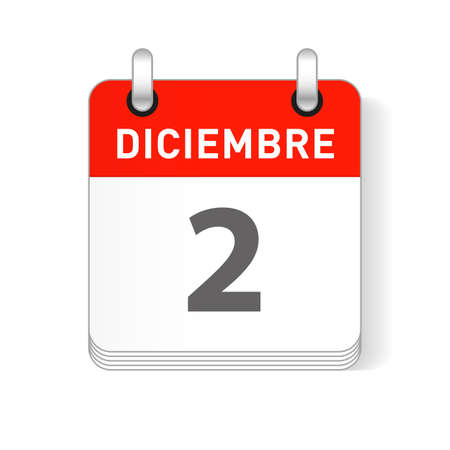 Diciembre 2, December 2 date visible on a page a day organizer calendar in spanish Language  イラスト・ベクター素材