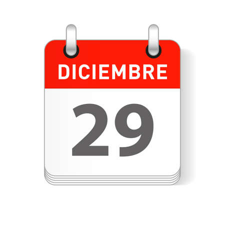 Diciembre 29, December 29 date visible on a page a day organizer calendar in spanish Language