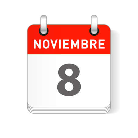 Noviembre 8, November 8 date visible on a page a day organizer calendar in spanish Language Ilustração