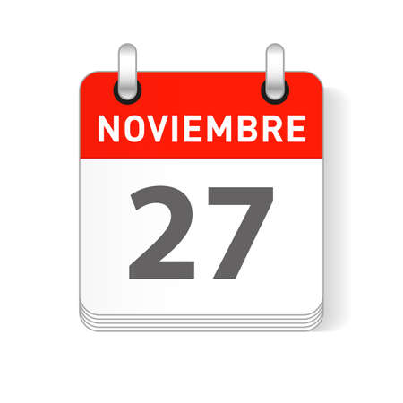 Noviembre 27, November 27 date visible on a page a day organizer calendar in spanish Language