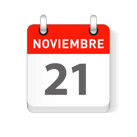 Noviembre 21, November 21 date visible on a page a day organizer calendar in spanish Language