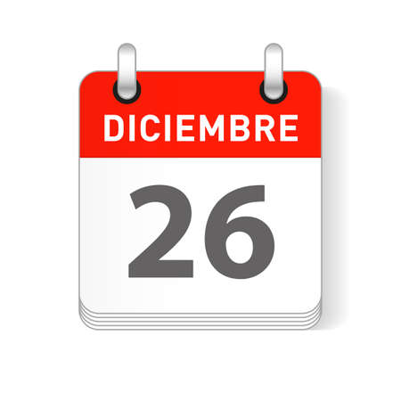 Diciembre 26, December 26 date visible on a page a day organizer calendar in spanish Language  イラスト・ベクター素材