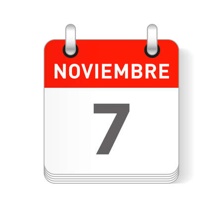 Noviembre 7, November 7 date visible on a page a day organizer calendar in spanish Language