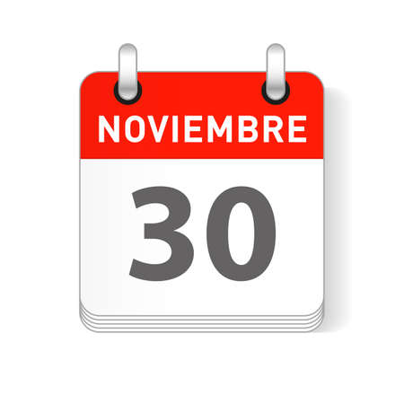 Noviembre 30, November 30 date visible on a page a day organizer calendar in spanish Language