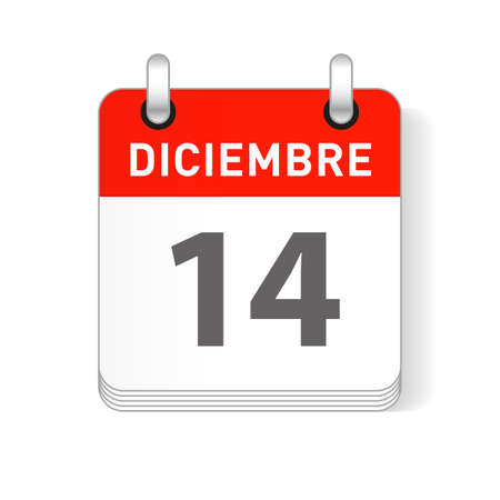 Diciembre 14, December 14 date visible on a page a day organizer calendar in spanish Language