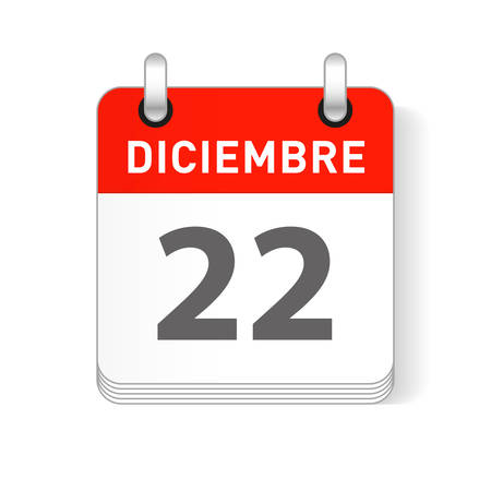 Diciembre 22, December 22 date visible on a page a day organizer calendar in spanish Language
