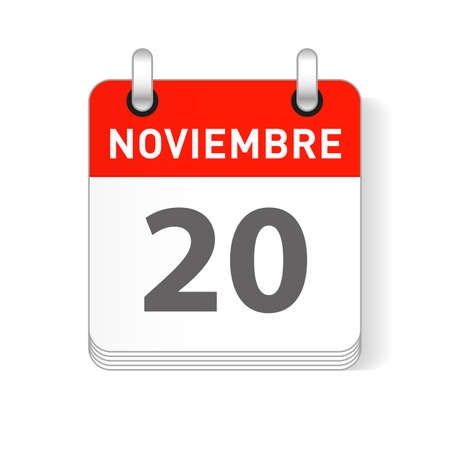 Noviembre 20, November 20 date visible on a page a day organizer calendar in spanish Language