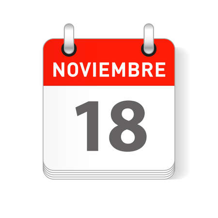Noviembre 18, November 18 date visible on a page a day organizer calendar in spanish Language