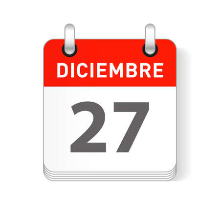 Diciembre 27, December 27 date visible on a page a day organizer calendar in spanish Language