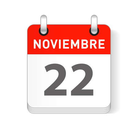 Noviembre 22, November 22 date visible on a page a day organizer calendar in spanish Language  イラスト・ベクター素材