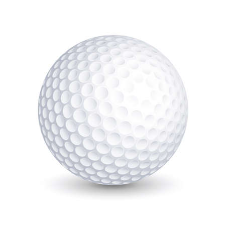 Pallina da golf vettoriale su sfondo bianco