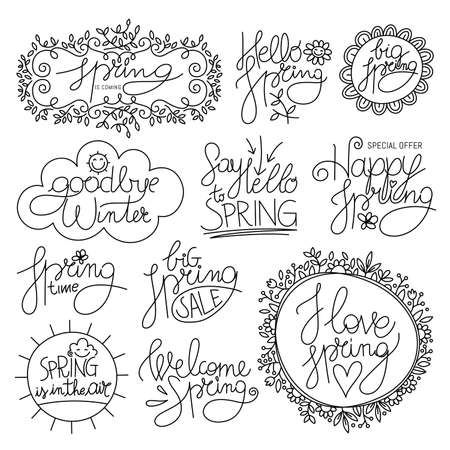 Spring Time calligraphy set Illustration