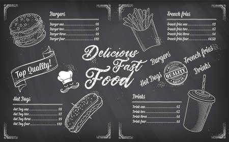 Modello di schizzo del menu di vettore del ristorante fast food Vettoriali