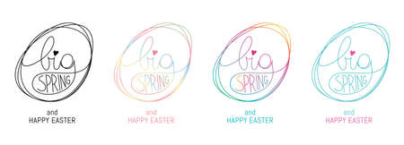 Spring and Easter, vector symbols, badges and lettering design